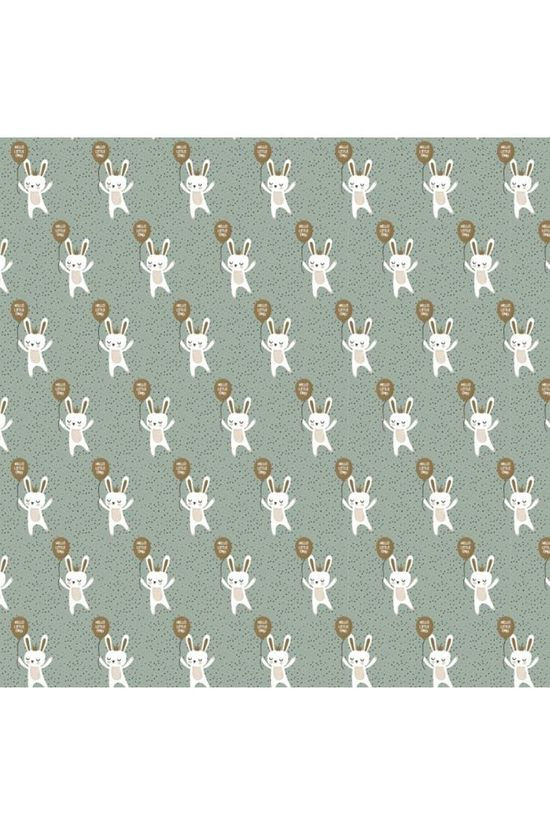 House of Products Papier Cadeau Baby Bunny (70cm x 2m) Vert Clair/Blanc