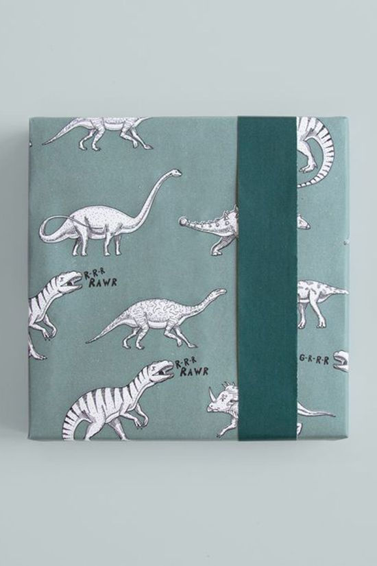 House of Products Papier Cadeau Dino - Blue (70cm x 2m) Bleu Moyen/Blanc