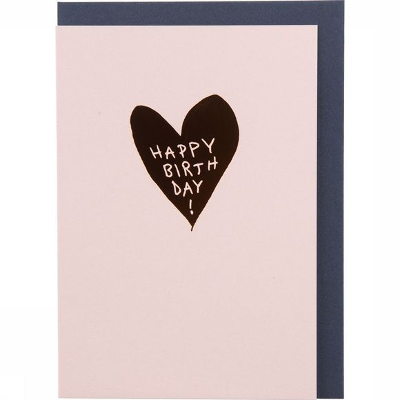 Papette Carte de Voeux Hot Copper Happy Birthday Heart Pas de couleur