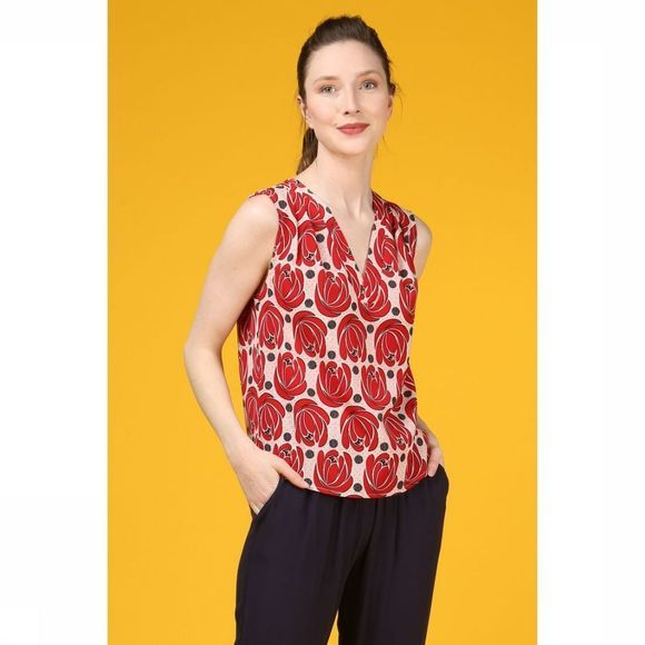 Anonyme Designers Blouse Sandra Rouge Moyen/Rose Clair