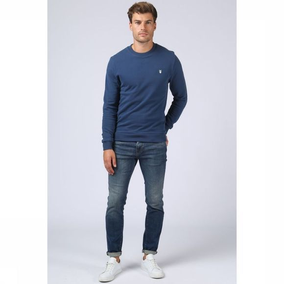 Knowledge Cotton Apparel Trui 30163 Middenblauw