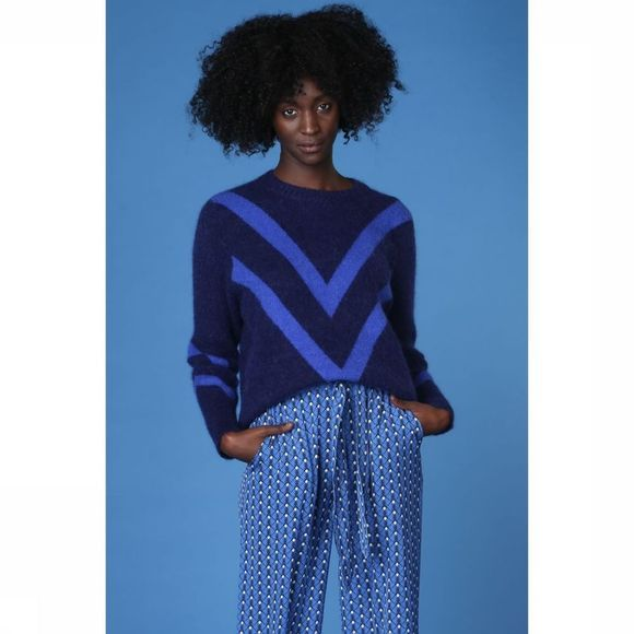 Co'Couture Trui Vote Knit Donkerblauw/Koningsblauw
