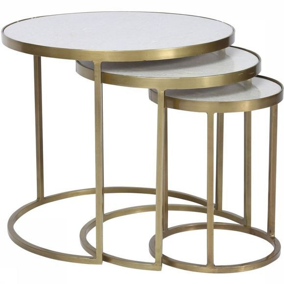 Madam Stoltz Table Coffee Table X3 Marble Brass Blanc/Or