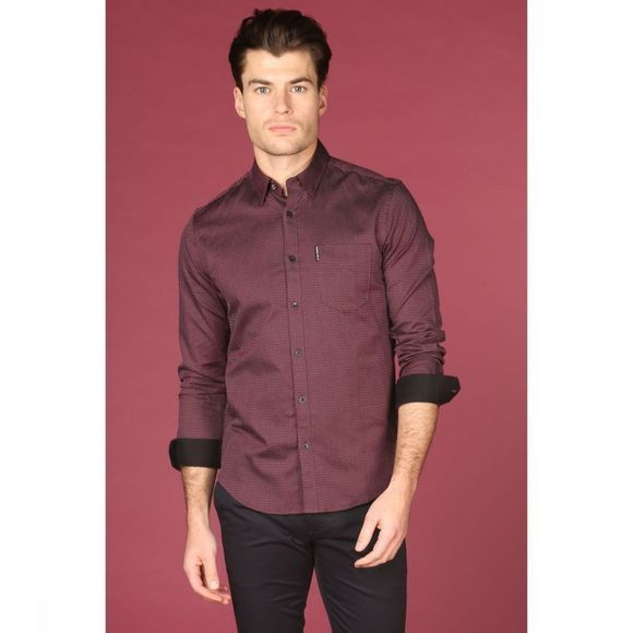 Ben Sherman Hemd Sh-0054000 Bordeaux/Assortiment Geometrisch