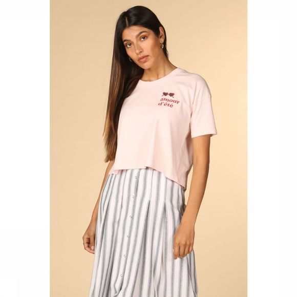 Thinking Mu T-Shirt Amour Dt Ivy Cropped Rose Clair