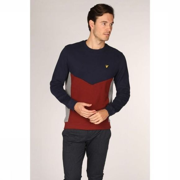 Lyle & Scott Trui 2001-Ml1205 Donkerblauw/Bordeaux
