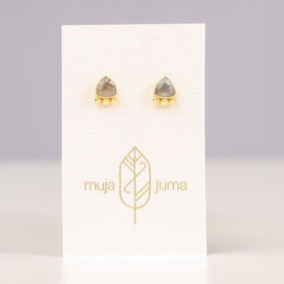 Muja Juma Boucle D'Oreille Stud Triangle And Dots Or/Gris Clair