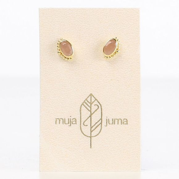Muja Juma Oorbel 5X3Mm Oval Crown Goud/Lichtroze