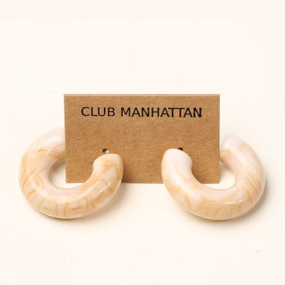 Club Manhattan Oorbel Bubble Hoops Midi Zandbruin