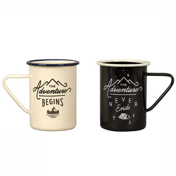 Gentlemen's Hardware Gadget Tall Enamel Tasses Set Of 2 Blanc/Noir