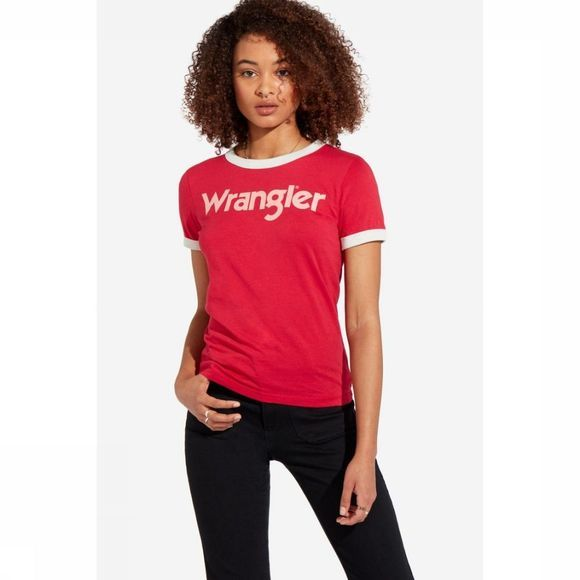 Wrangler T-Shirt W7N0Evr01 Rouge/Blanc