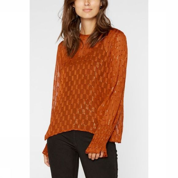 Yas Blouse Yasadele Long Sleeve Rouille
