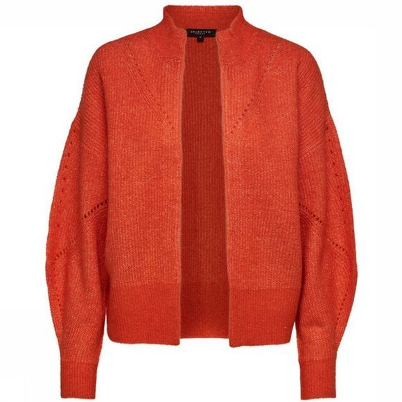 Selected Cardigan Slfinga Ls Knit Frill Rood