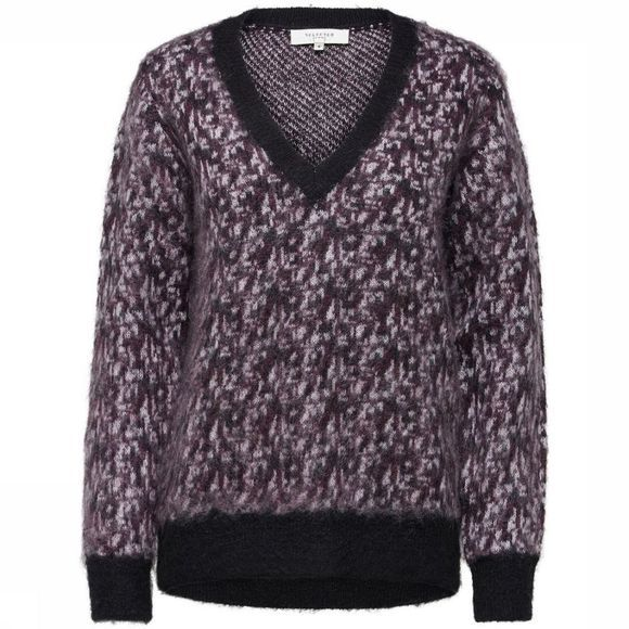 Selected Pull Sf Maline Ls V Neck Knit Pourpre Prune/Noir