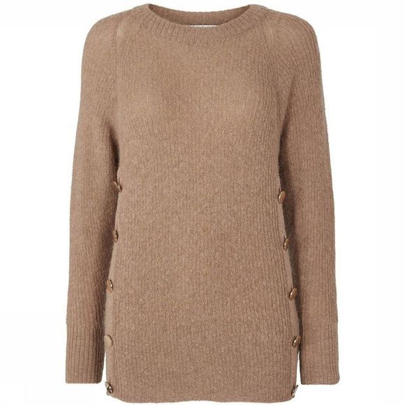 Co'Couture Pull Eloise Button Knit Brun Sable
