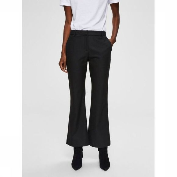 Selected Pantalon Slfada Mw Cropped Flaired Nos Noir