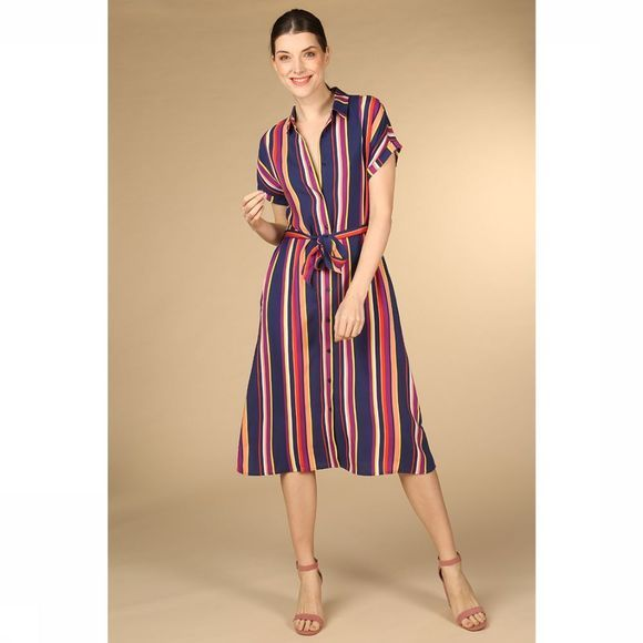 ARMEDANGELS Robe Marjaa Multicolour Stripes marine/Assortiment Arc-En-Ciel