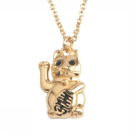 All The Luck In The World Collier East Lucky Cat Or/Noir
