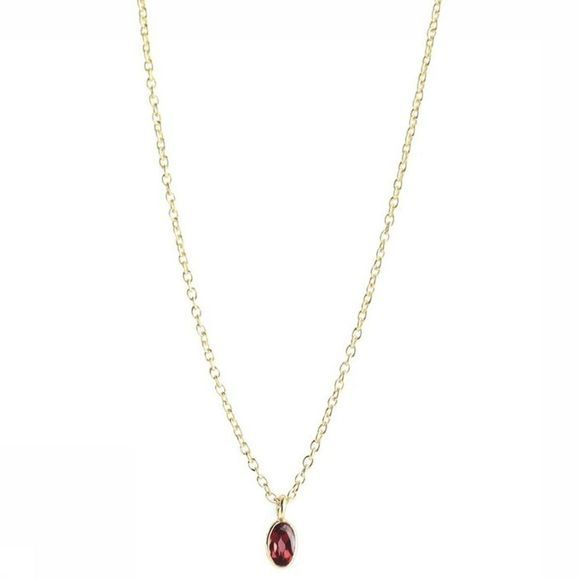 Muja Juma Collier Tiny Oval Drop Or/Bordeaux