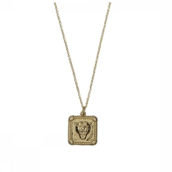All The Luck In The World Collier Charm er Square Or