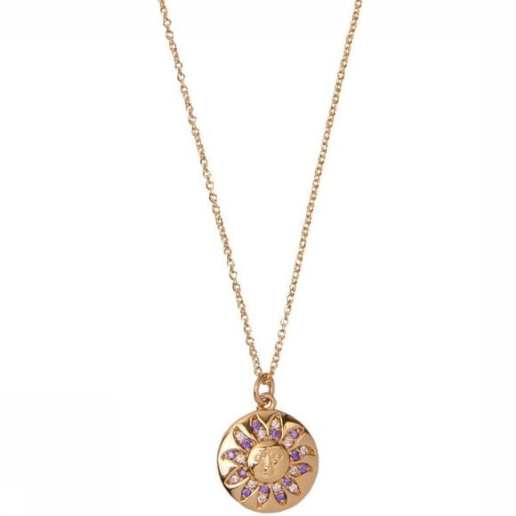 All The Luck In The World Ketting Bold Sun Circle Goud/Middenpaars