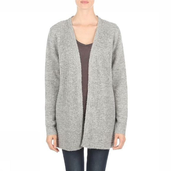 Object Cardigan Nonsia Rib Ls Knit Gris Clair Mélange