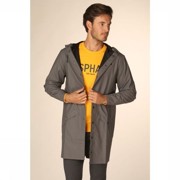Rains Manteau Long Jacket Gris Foncé