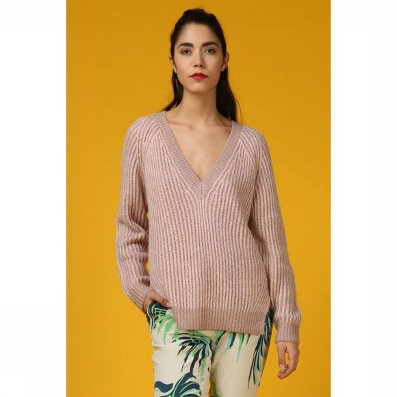 Selected Pull Sf Willa Ls Knit V Neck Rose Clair