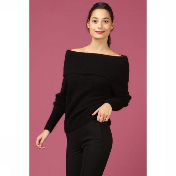 Selected Trui Slf Kaila Ls Knit Offshoulder Zwart