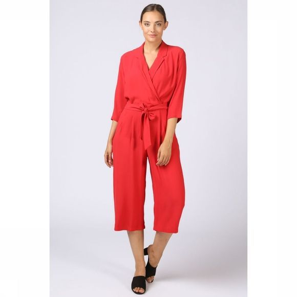 Selected Jumpsuit Tanna 3/4 Middenrood