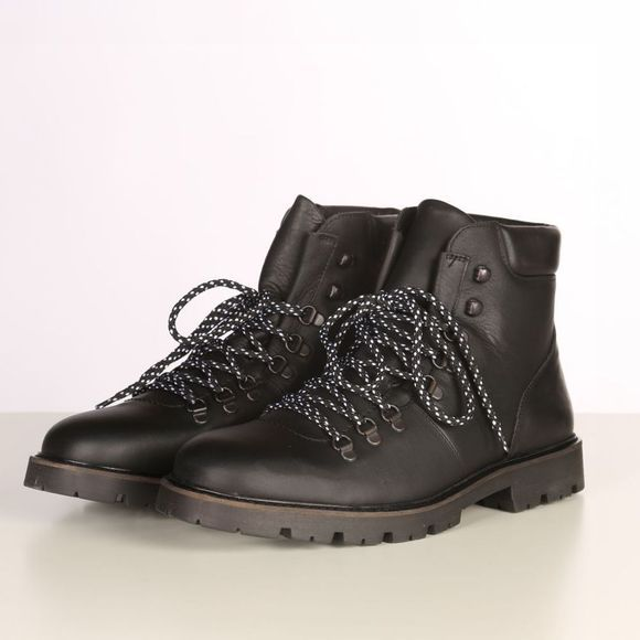 Selected Bottine iisaac Leather Hiking Zwart