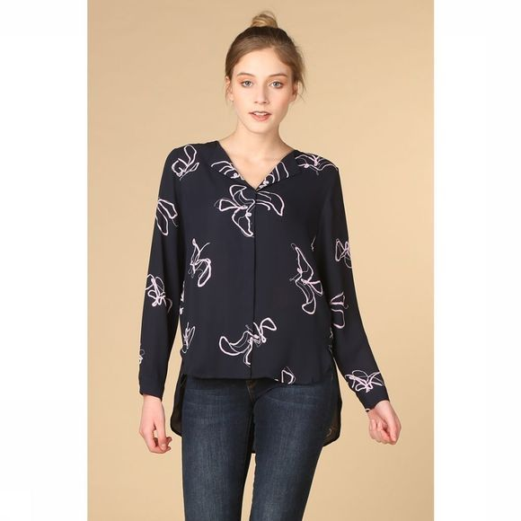 Selected Blouse Slf Dynella Aop Ls Donkerblauw/Lichtpaars