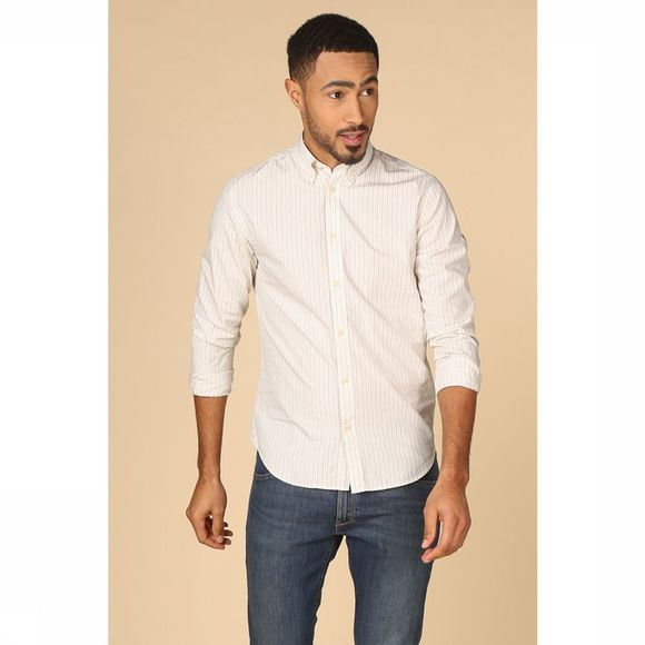 Selected Chemise regaustin Brun Sable/Blanc Cassé