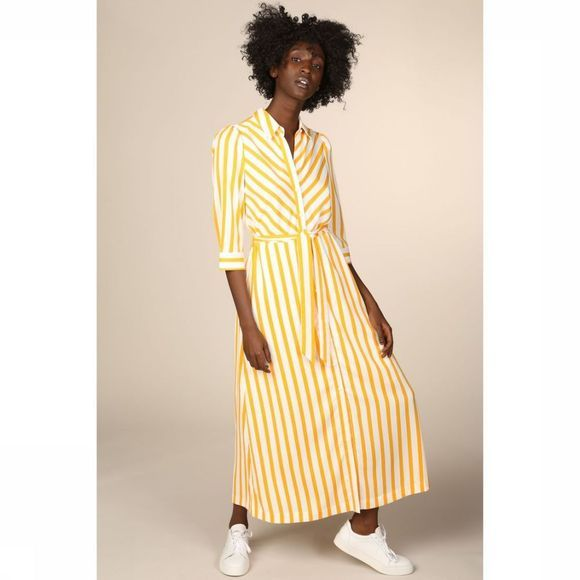 Selected Robe Dorit Florenta 3/4 Aop Ankle Blanc/Jaune