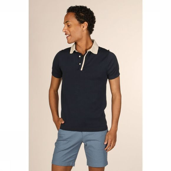 Selected Polo contastpolo Donkerblauw/Zandbruin