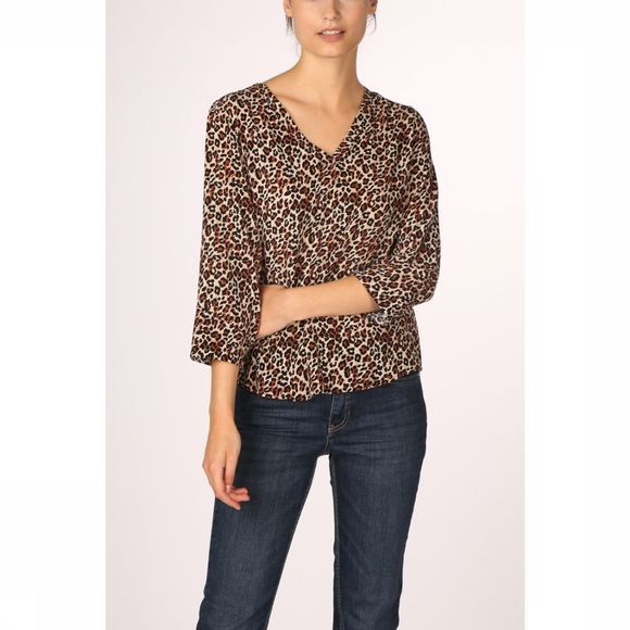 Object Blouse Bay 3/4 Top Aop Seasonal Brun Sable/Noir