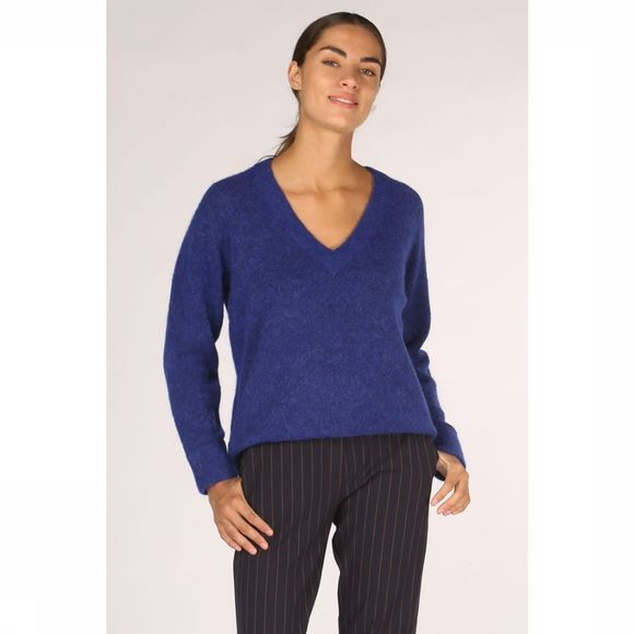 Selected Pull lanna Ls Knit V Neck Bleu Roi
