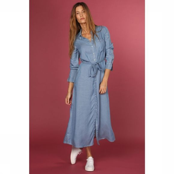 Selected Robe Sel Slfmarla Florenta Ls Shirt Dress Bleu Clair