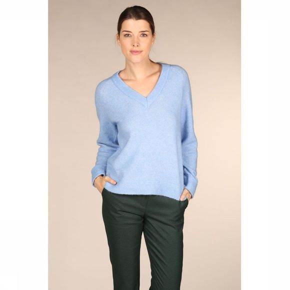 Selected Pull Slflanna Ls Knit V Neck Bleu Clair