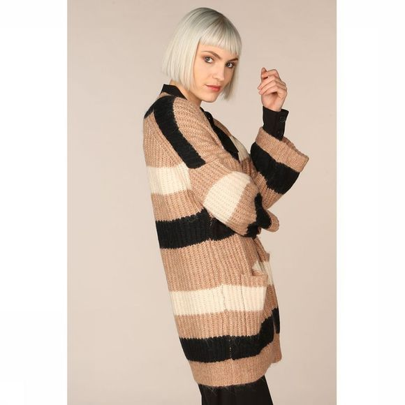 Yas Cardigan Yassunday Stripe Knit Brun Sable/Blanc Cassé