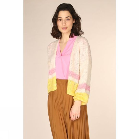Selected Cardigan Slfmellow Ls Blanc Cassé/Jaune Clair
