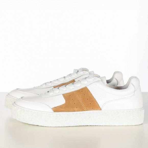 Selected Sneaker Slfdina Leather Trainer Noos B Blanc/Brun moyen