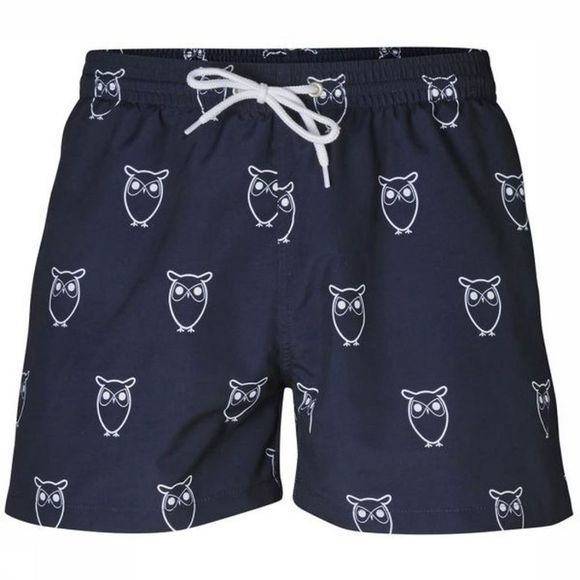 Knowledge Cotton Apparel Short de bain 50114 Bleu Foncé/Blanc