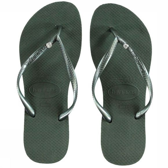 Havaianas Slipper Crystal Glamour Donkergroen