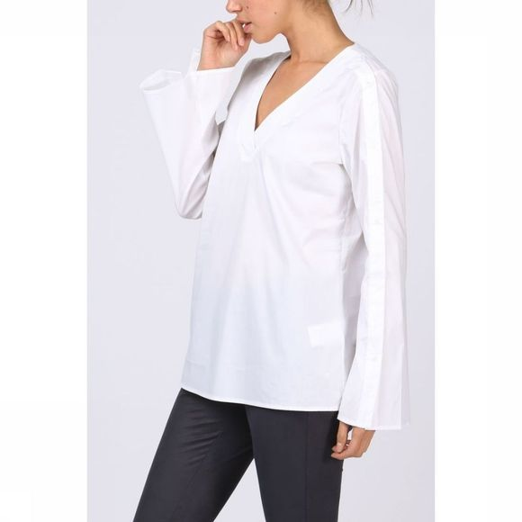 Yaya Blouse Woven Placket Sleeve Wit