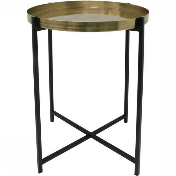HK Living Tafel Brass Black Side M Koper/Zwart
