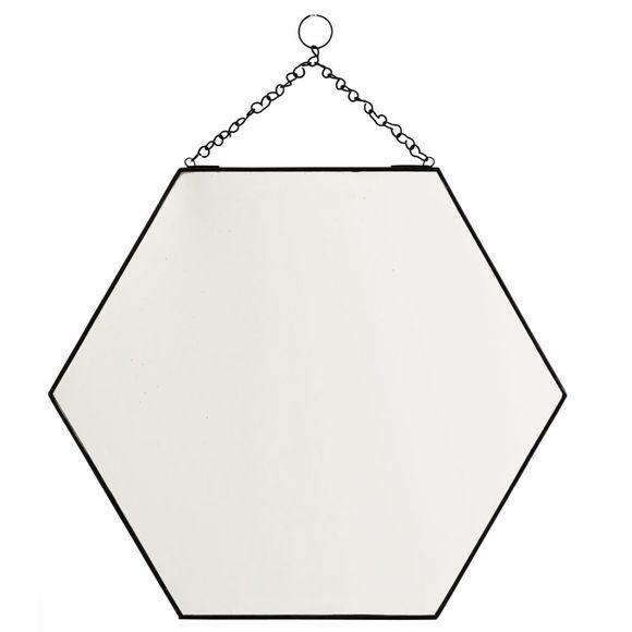 6 Squared Hanging Mirror Black 40X35 Cm