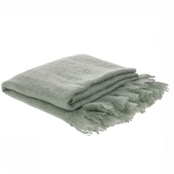 HK Living Plaid Acrylic Wool Throw Vert Clair