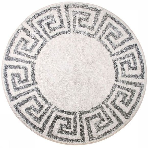 HK Living Tapis Greek Key Bath Mat Round 120 cm Blanc/Noir