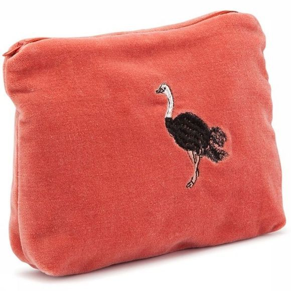 Anna+Nina Textiel Accessoire Ostrich Velvet Pouch Donkerrood